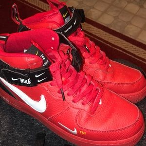 Red high tops Air forces